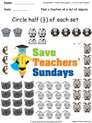 Fractions of a Set KS1 Worksheets, Lesson Plans and Model
