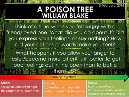 a poison tree william blake edexcel conflict poetry cluster gcse 1 9 by breathingspace. Black Bedroom Furniture Sets. Home Design Ideas