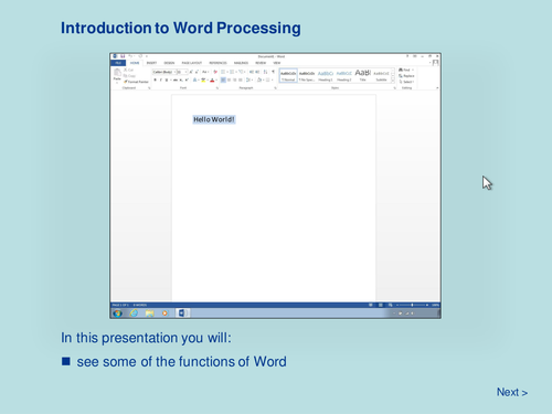 Word Processing - Introduction to Word Processing