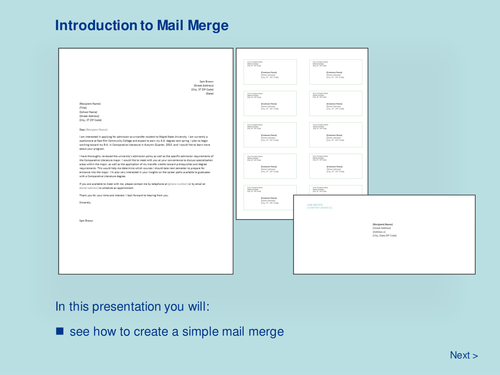 Word Processing - Introduction to Mail Merge