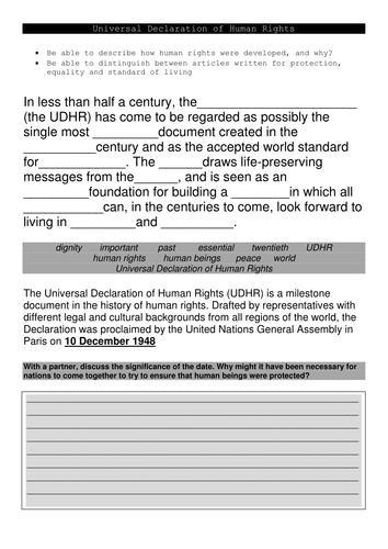 Universal Declaration of Human Rights  INTRODUCTION ACTIVITIES