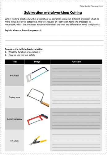 Subtraction Metalworking Tools Worksheets - Saws and files