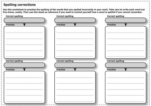 Assessment - Spelling Correction Worksheet