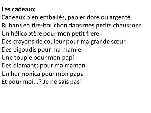 Poem Les Cadeaux By Kvillatte Teaching Resources