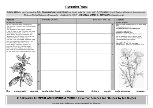 Comparing poems THISTLES and NETTLES Worksheet