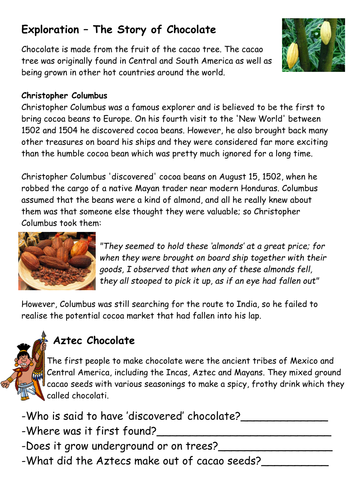 Chocolate and Fair Trade Lesson worksheet