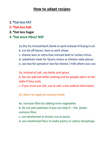 Adapting Recipes - KS3 and KS4