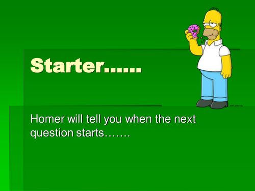 Homer Simpson Timer starter and plenary template