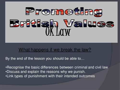 PROMOTING BRITISH VALUES     Criminal and Civil Law PPT