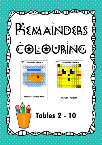 Divisions with remainder colouring sheets, times tables review