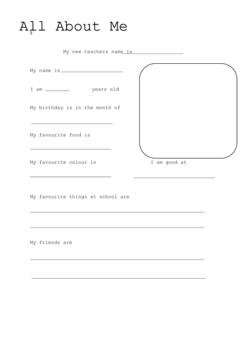 All About Me Template By Laurenstuart Teaching Resources Tes
