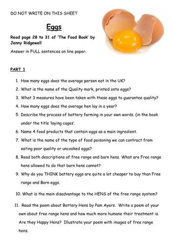 Food and Nutrition independent work or Cover lesson - Eggs and Protein