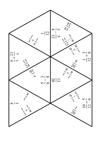 Adding and Subtracting Fractions Jigsaw by sessa1