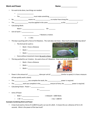 Introduction to Work and Power Guided Notes and Practice Worksheet ...