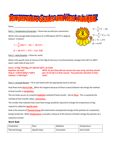 Temperature Conversions Heat Equation And Thermal Energy Quiz By