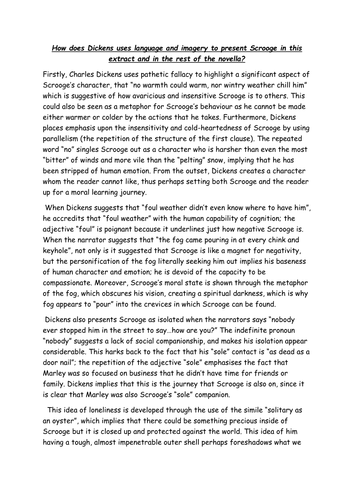 Scrooge A Christmas Carol GCSE Stave 1 and 2 model essay