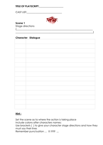 a blank play script template by ljj290488 teaching resources tes