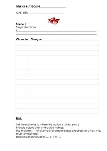 A blank play script template