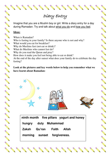 Ljjs shop teaching resources tes a diary entry writing template based on ramadan pronofoot35fo Image collections