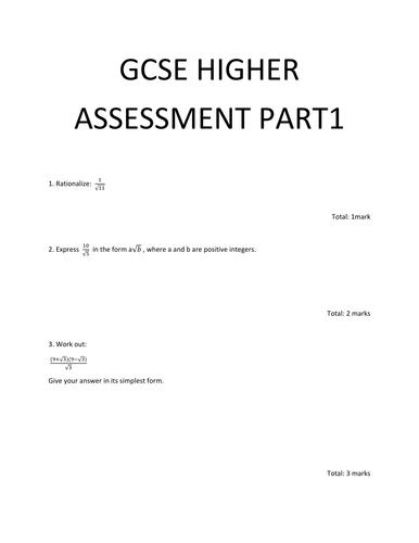 Maths GCSE higher assessment part1