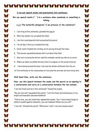 A set of differntiated worksheets exploring using speech based on The Great Kapok Tree by Lynne Cher