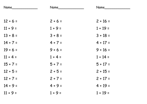 maths problems (addition, subtraction, multiplying) by