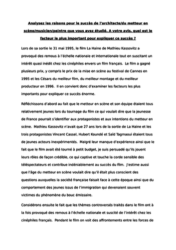 Help A2 ESSAY IN FRENCH?