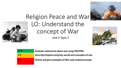 AQA SPEC B UNIT 2  TOPIC 5  RELIGION WAR AND PEACE LESSONS 1-6  Religion and Life Issues