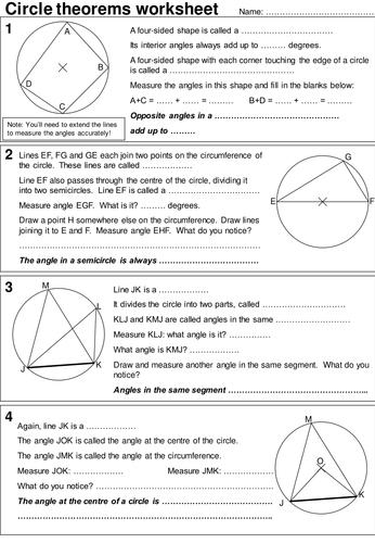 Circle theorems investigative worksheet