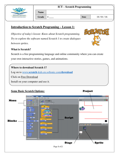 Introduction to Scratch worksheet by Afreenkh - Teaching Resources - Tes