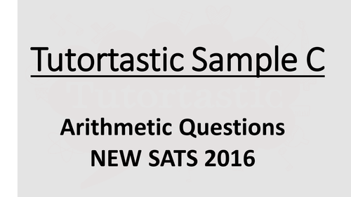 KS1 SATs 2016: Arithmetic Paper 1: SAMPLE A (with answers