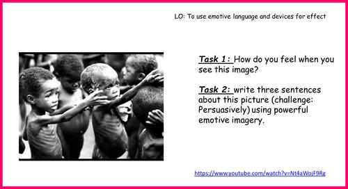 Year 7 Persuasive writing unit - using emotive language lesson