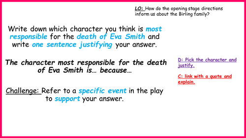 Year 10 An Inspector Calls Opening stage directions. VERY LOW ABILITY