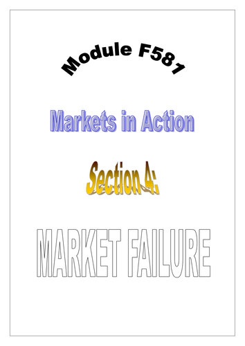OCR A LEVEL ECONOMICS Topic 1 Booklet 4 Market Failure