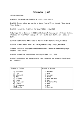 German/Germany General Knowledge Quiz Questions by ProfSeverus