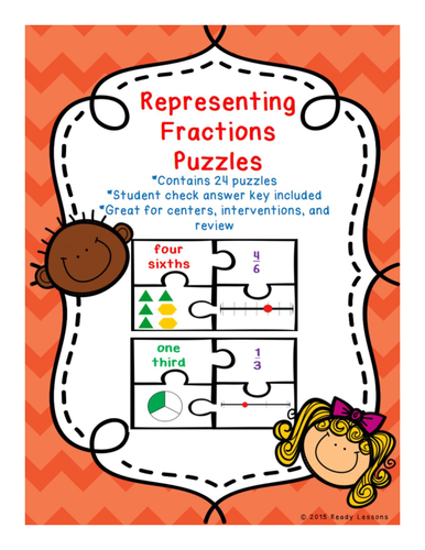 Fraction Game Puzzles with Fractions on a Number Line 3.NF.1 and 3.NF.2