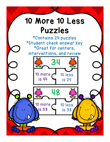 10 More 10 Less Game Puzzles for a Ten More Ten Less Center Activity - 1.NBT.5