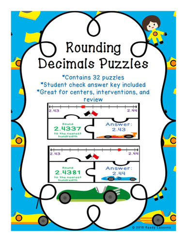 Rounding Decimals Game Puzzles - Whole, Tenth, Hundredth, Thousandth - 5.NBT.4
