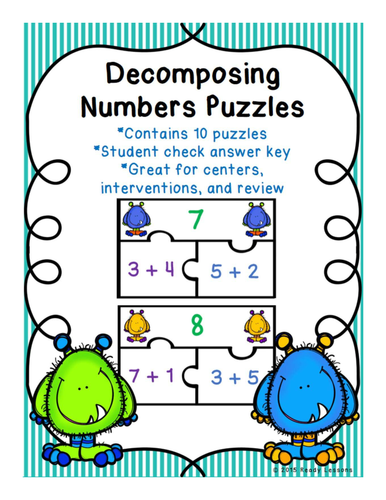 Decomposing Numbers Game Puzzles for Number Bonds to 10 CCSS K.OA.3