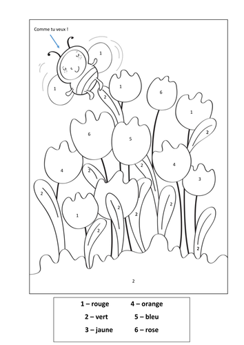 Colouring By Number Ks1 : Colour by number French tulips by rhysgriff92 Teaching Resources Tes