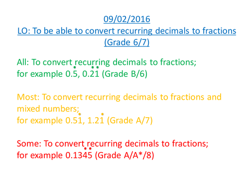 Converting recurring decimals into fractions