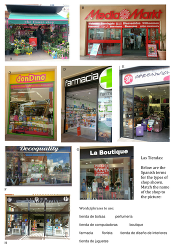 Spanish vocabulary- shops