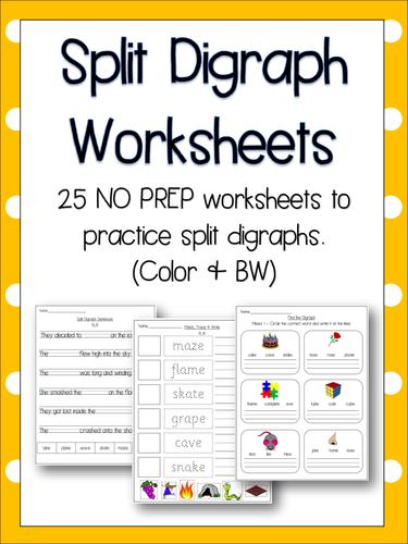 All Worksheets free vowel digraph worksheets : Split Digraph Worksheets - Literacy, English, Phonics! 25 NO PREP ...