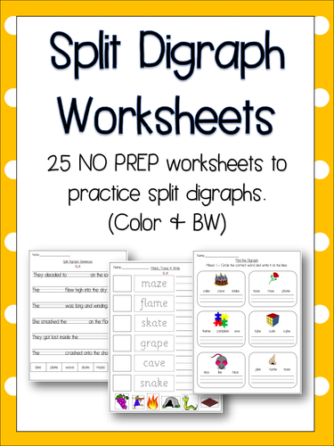 Split Digraph Worksheets - Literacy, English, Phonics! 25 NO PREP  Worksheets!