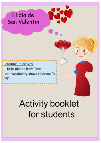 Spanish Valentine's day lesson + exercise / Dia de San Valentin (no prep)