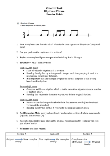 OCR GCSE Music Creative Task - Student 'How to' Guides - Stimuli 1