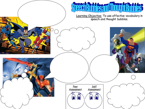 superhero speech and thought bubbles lesson ks2 3 by. Black Bedroom Furniture Sets. Home Design Ideas