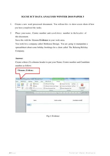 IGCSE ICT Data Analysis Winter 2010 Paper 3