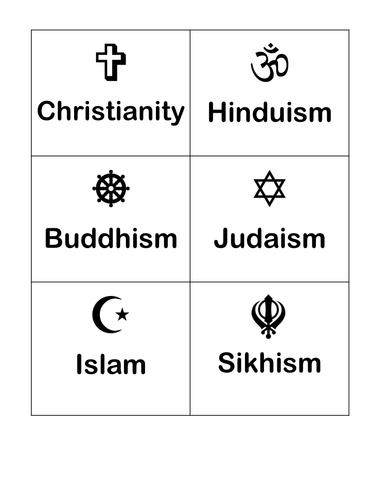 Religion symbols flash cards   Teaching Resources
