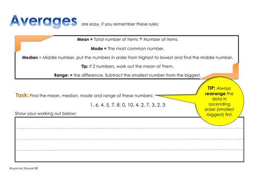 Averages rules and task sheet Year 6 challenge task